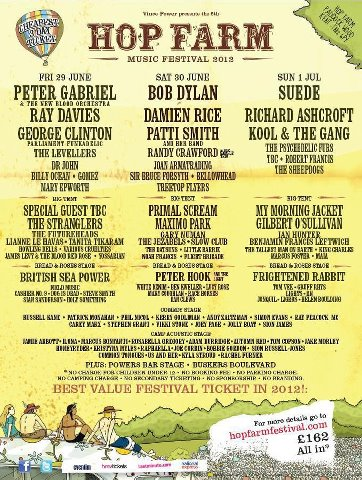 Hop Farm Music Festival line-up 2012