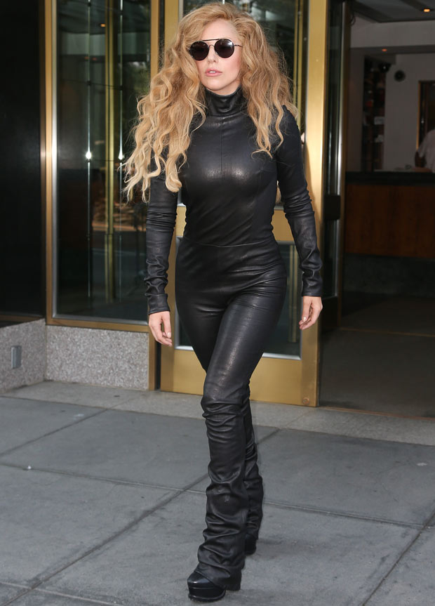 Lady Gaga in black leather