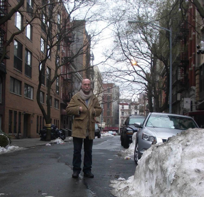 Freewheelin' Stuart Ferguson waiting in Greenwich Village for Lindsay Lohan and a copyright extension