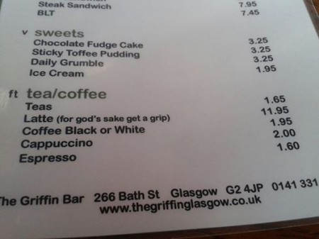 Latte Griffin Bar Glasgow