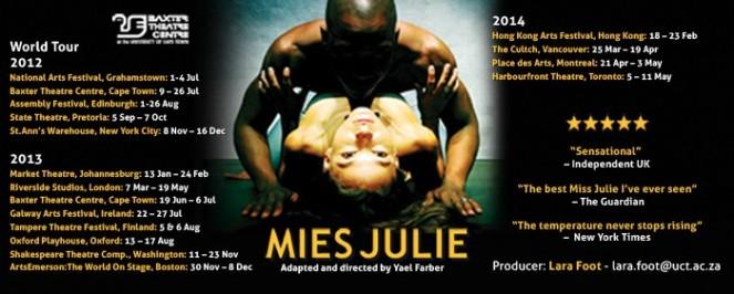 Mies Julie - Baxter Theatre Centre Edinburgh 2017