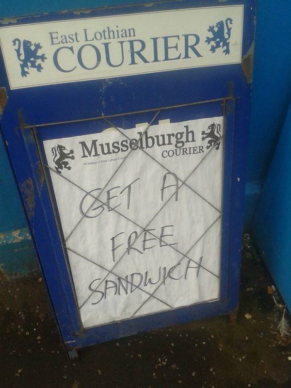 Musselburgh Get a Free Sandwich