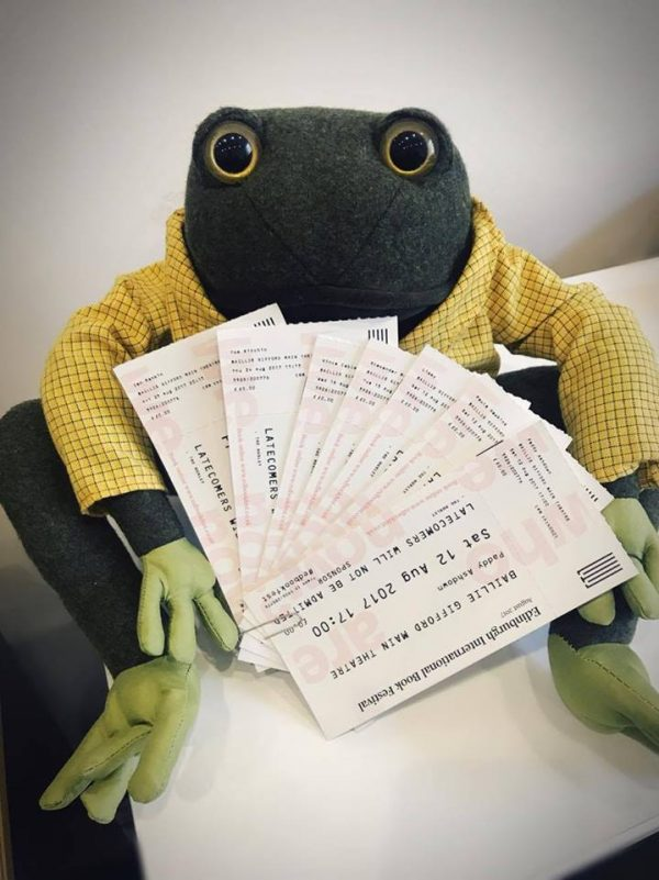 Toad from Badger & Co. selling tickets - Edinburgh Festival 2017