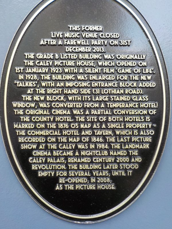 Caley Picture House plaque